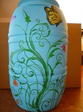 Painted Rain Barrel Auction (front)