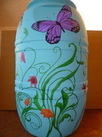 Painted Rain Barrel Auction (side 1)